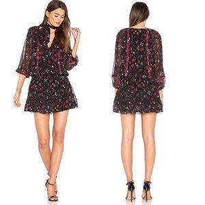 Joie Silk Grover Caviar Red & Black Floral Dress
